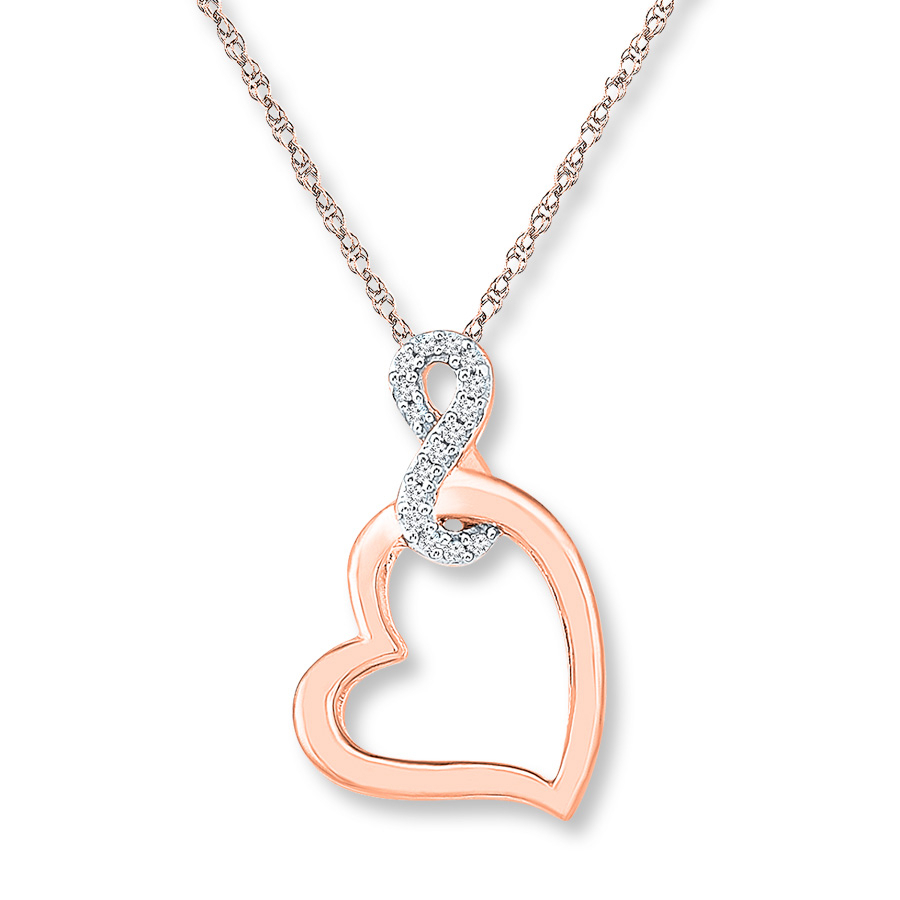 Heart Infinity Necklace 1/20 Ct Tw Diamonds 10K Rose Gold Intended For Recent Sparkling Infinity Locket Element Necklaces (Gallery 14 of 25)