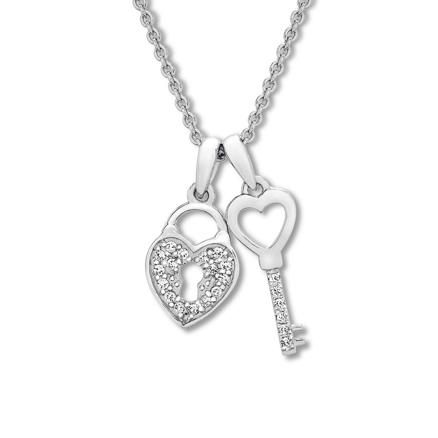 Heart Lock & Key Necklace 1/10 Ct Tw Diamonds Sterling Silver With Regard To Most Recently Released Heart Shaped Padlock Necklaces (Gallery 2 of 25)