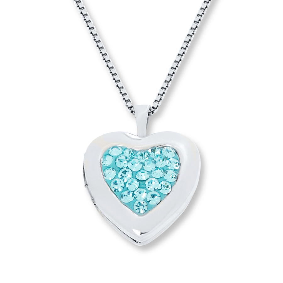 Heart Locket Necklace Sky Blue Crystals Sterling Silver – 374232205 For Latest Letter I Alphabet Locket Element Necklaces (View 11 of 25)