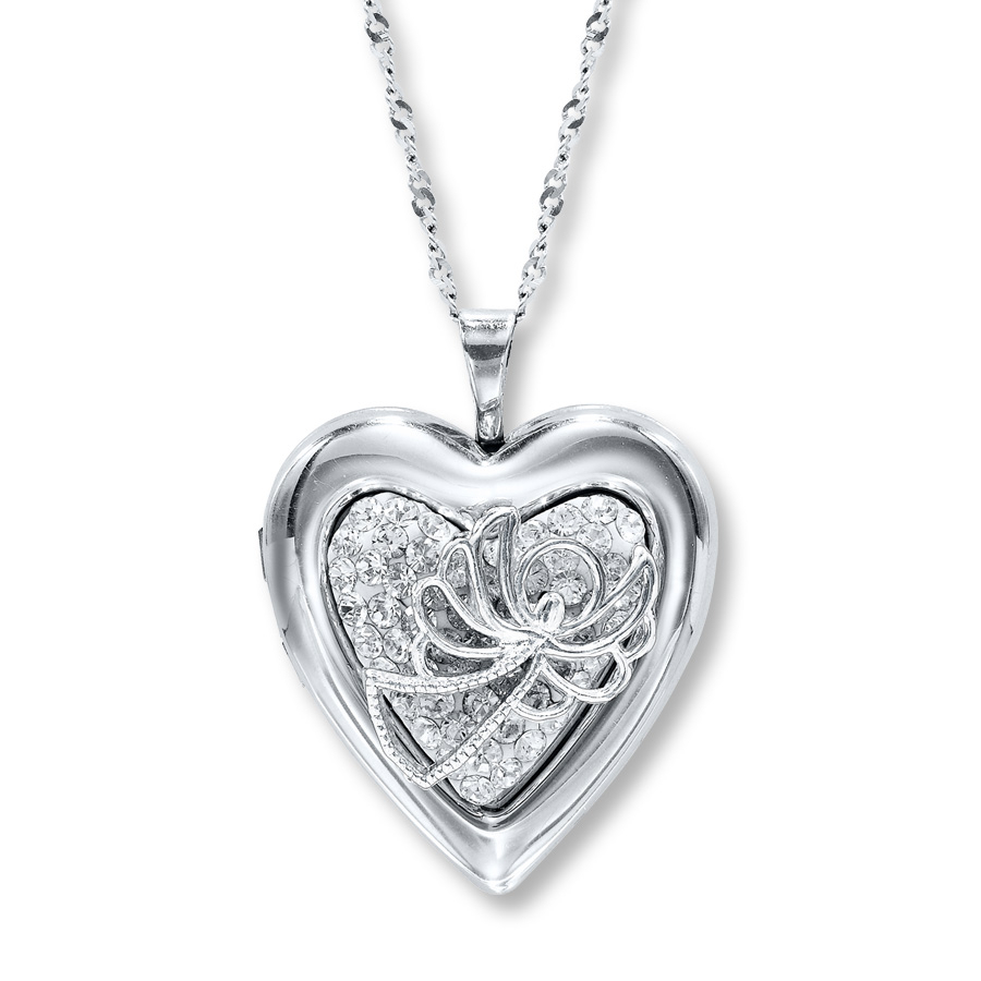 Heart Locket With Angel Swarovski Elements Sterling Silver In Most Popular Sparkling Infinity Locket Element Necklaces (Gallery 11 of 25)