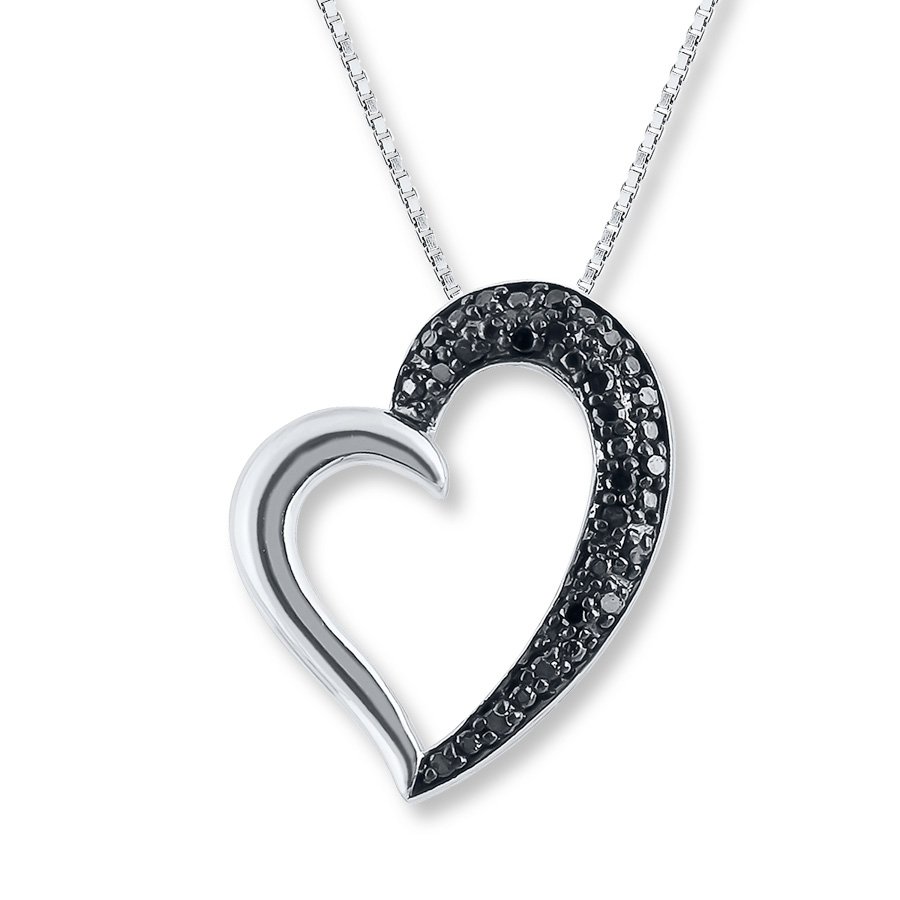 Heart Necklace 1/10 Ct Tw Black Diamonds Sterling Silver With Regard To Most Current Asymmetrical Heart Necklaces (Gallery 6 of 25)