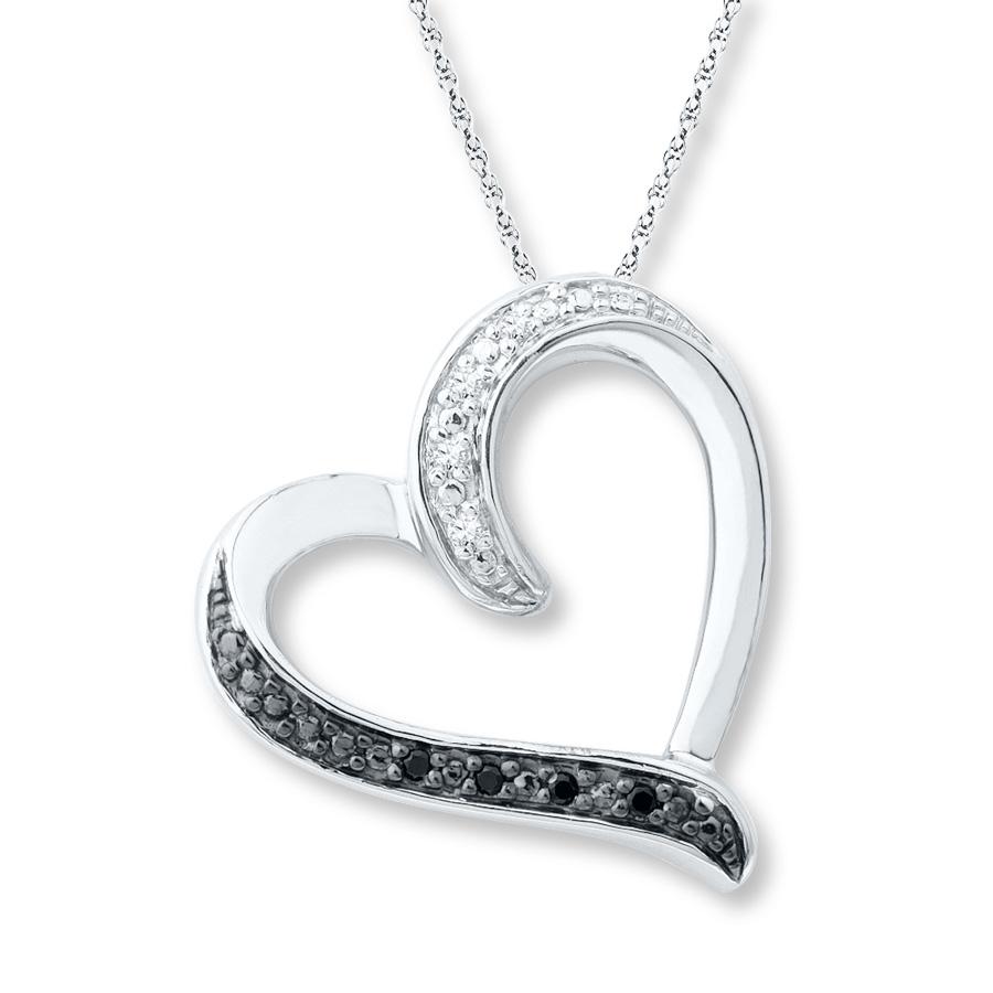 Heart Necklace Black And White Diamonds Sterling Silver Within Most Recently Released Open Heart Necklaces (View 6 of 25)