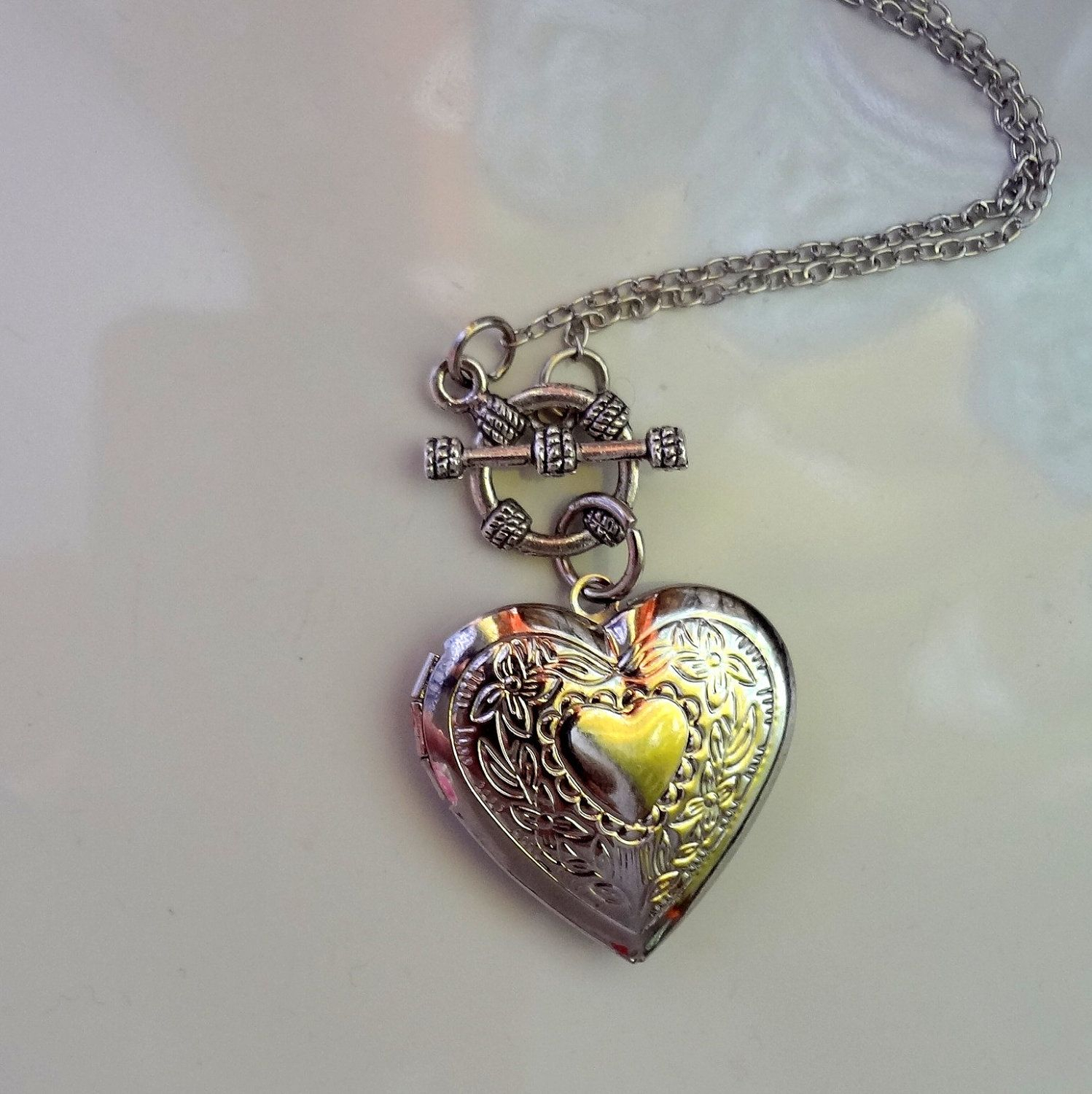 Heart Necklace, Heart Locket Necklace,holiday Gift | Random | Heart Intended For 2020 Heart Locket Plate Necklaces (View 18 of 25)