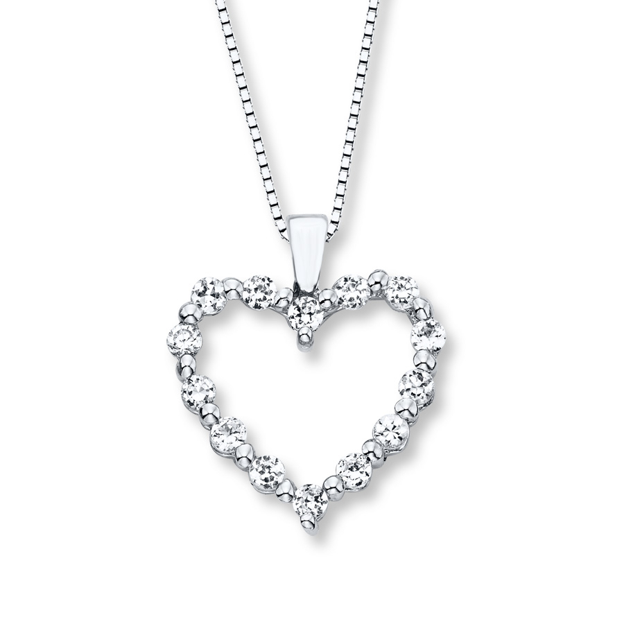 Heart Necklace Lab Created Sapphires Sterling Silver Pertaining To Best And Newest Interlocked Hearts Locket Element Necklaces (Gallery 16 of 25)