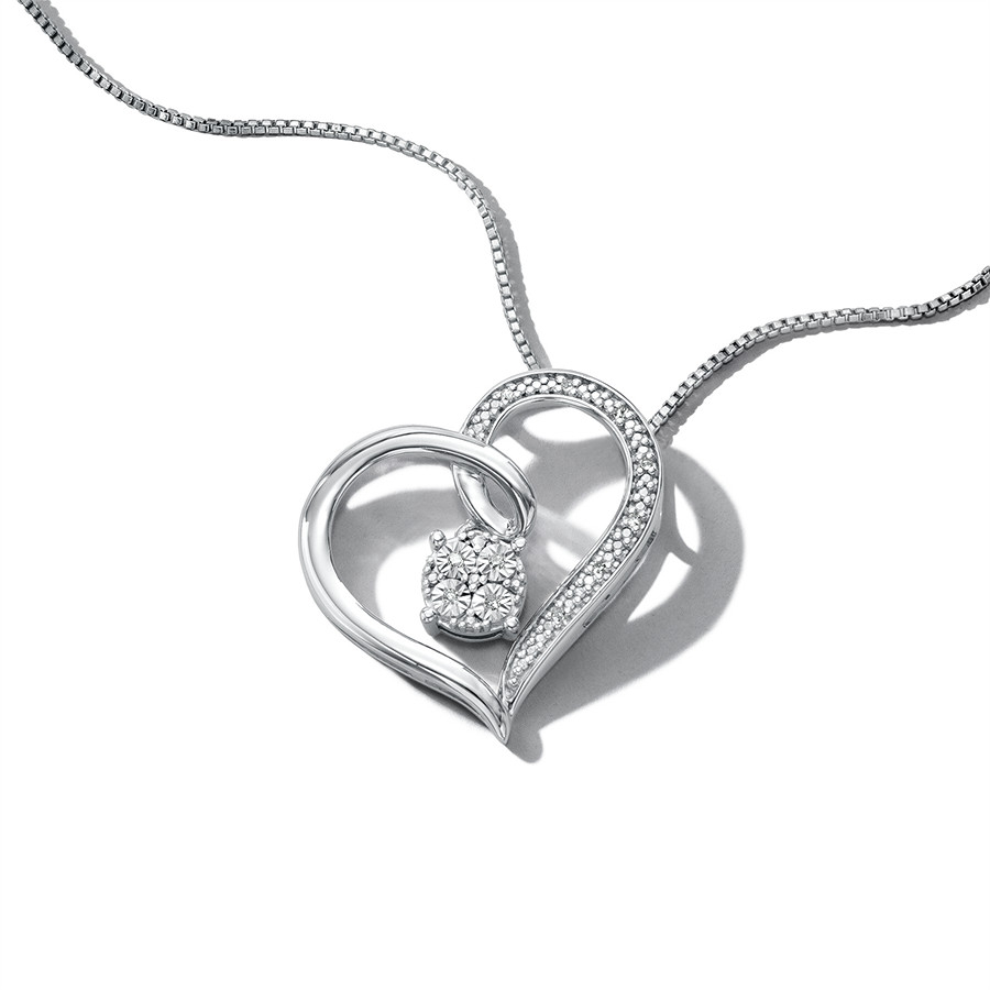 Heart Necklace With Diamonds Sterling Silver – 900239409 – Kay Within Most Recently Released Letter J Alphabet Locket Element Necklaces (Gallery 23 of 25)