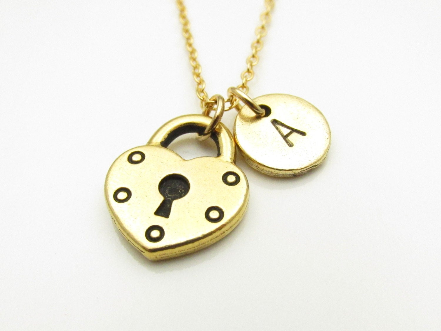 Heart Padlock Necklace, Gold Heart Shaped Lock Charm, Initial In Most Recent Heart Shaped Padlock Necklaces (Gallery 19 of 25)