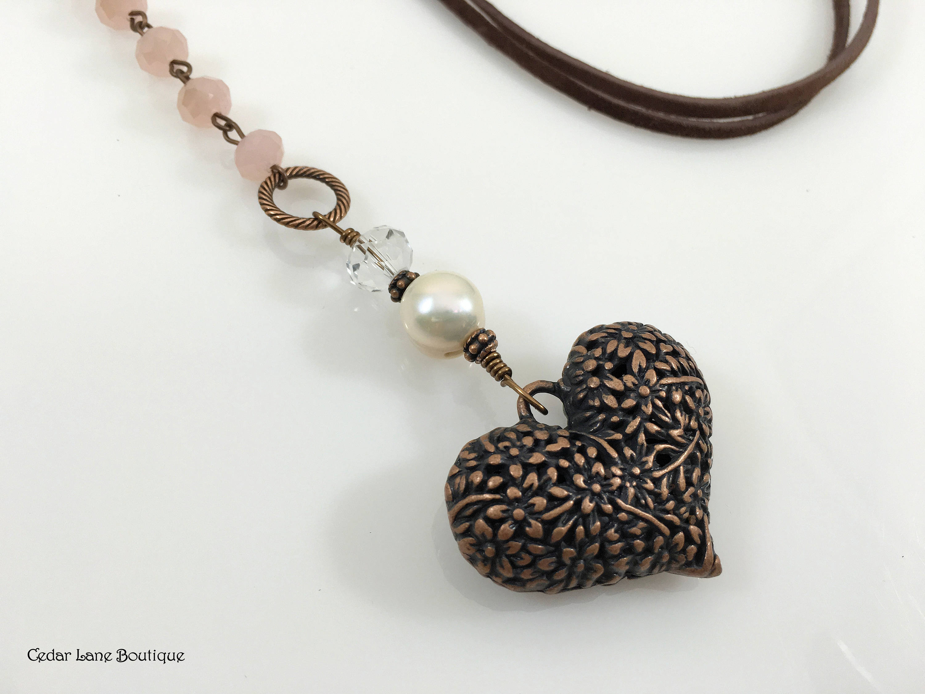 Heart Pendant Necklace/suede Long Necklace/pink Crystal Bead Chain/copper  Heart Pendant/bohemian Jewelery/casual Necklace/adjustable Length Throughout Most Up To Date Ornate Hearts Tassel Necklaces (View 8 of 25)