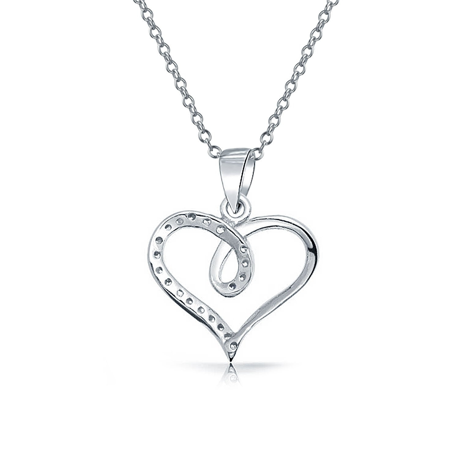 Heart Shape Ribbon Pave Cubic Zirconia Cz Bridal Pendant Necklace For Women Girlfriend 925 Sterling Silver Inside Most Recently Released Ribbon Open Heart Necklaces (View 10 of 25)