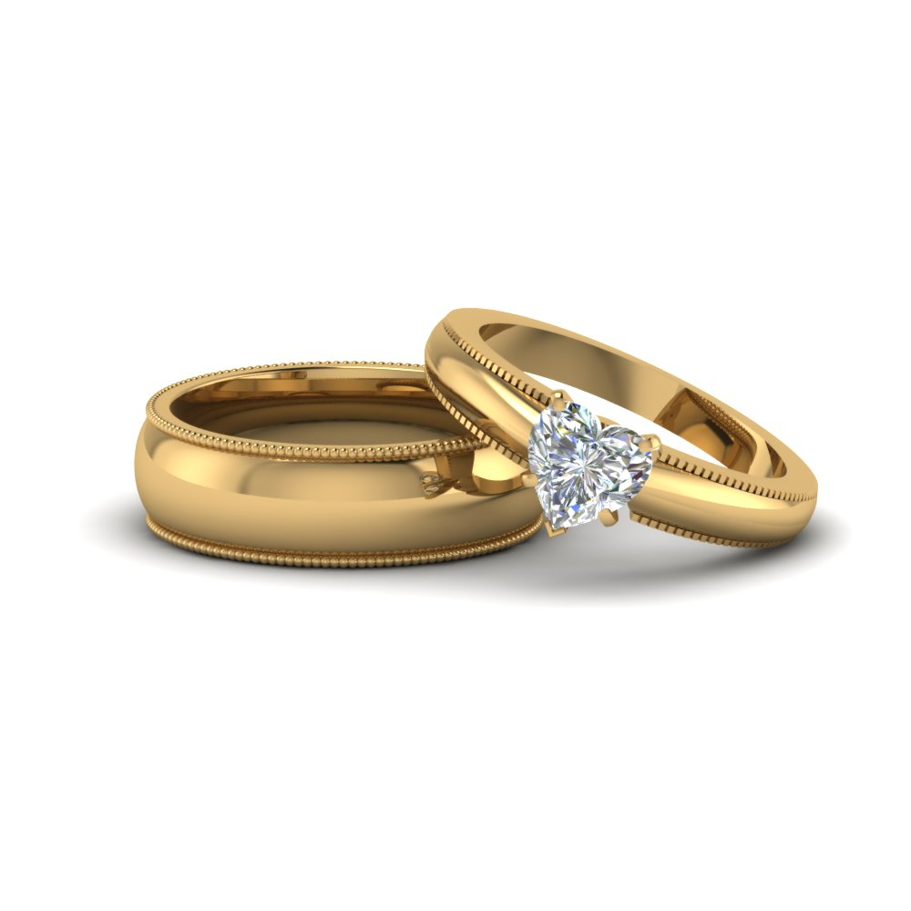 Heart Shaped Matching Wedding Anniversary Ring With Band For Him And Her In 18k Yellow Gold With 2020 Diamond Frame Five Stone Anniversary Bands In White Gold (View 11 of 25)