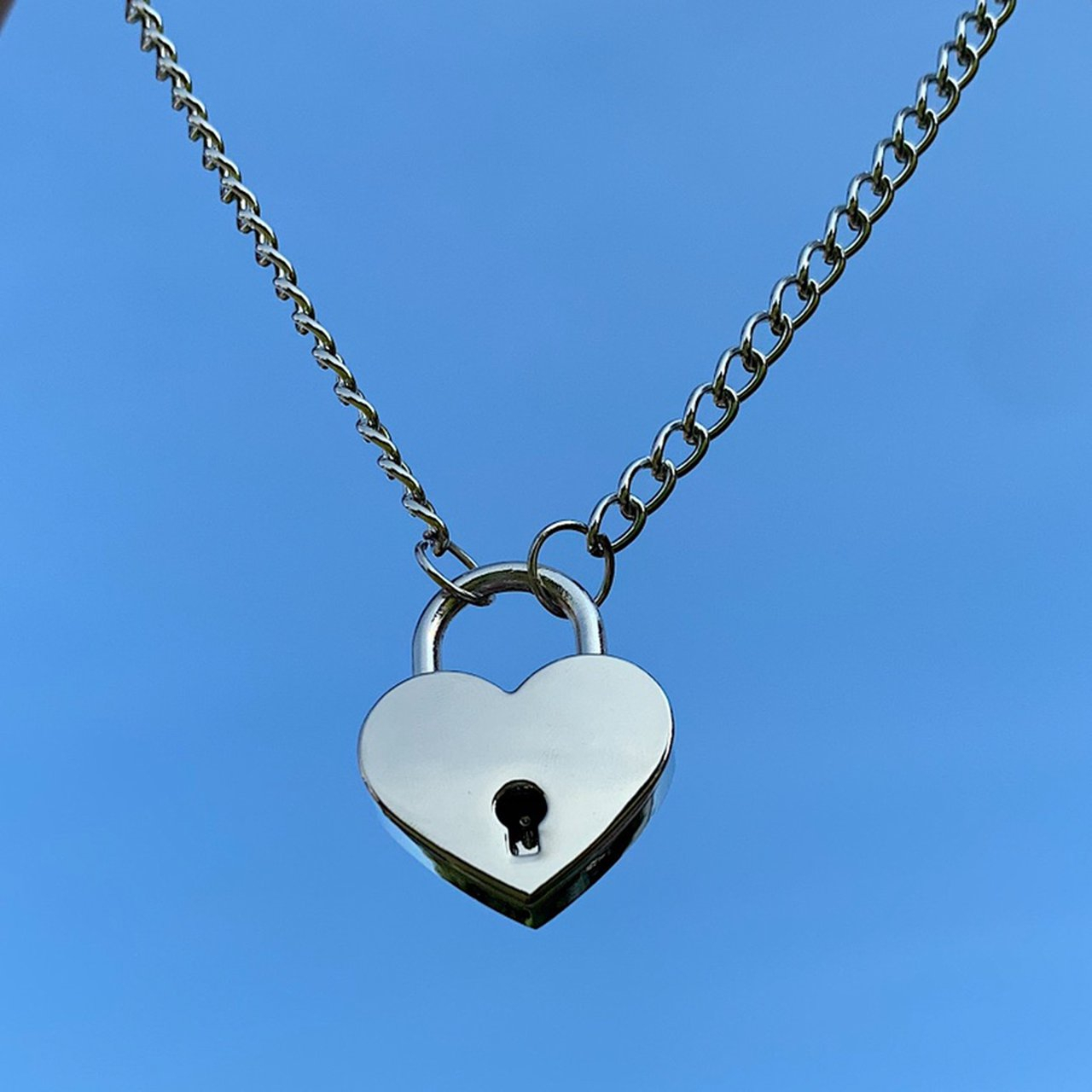 Heart Shaped Padlock Chain Necklace. Keys Will Come – Depop Throughout Most Popular Heart Shaped Padlock Rings (Gallery 21 of 25)
