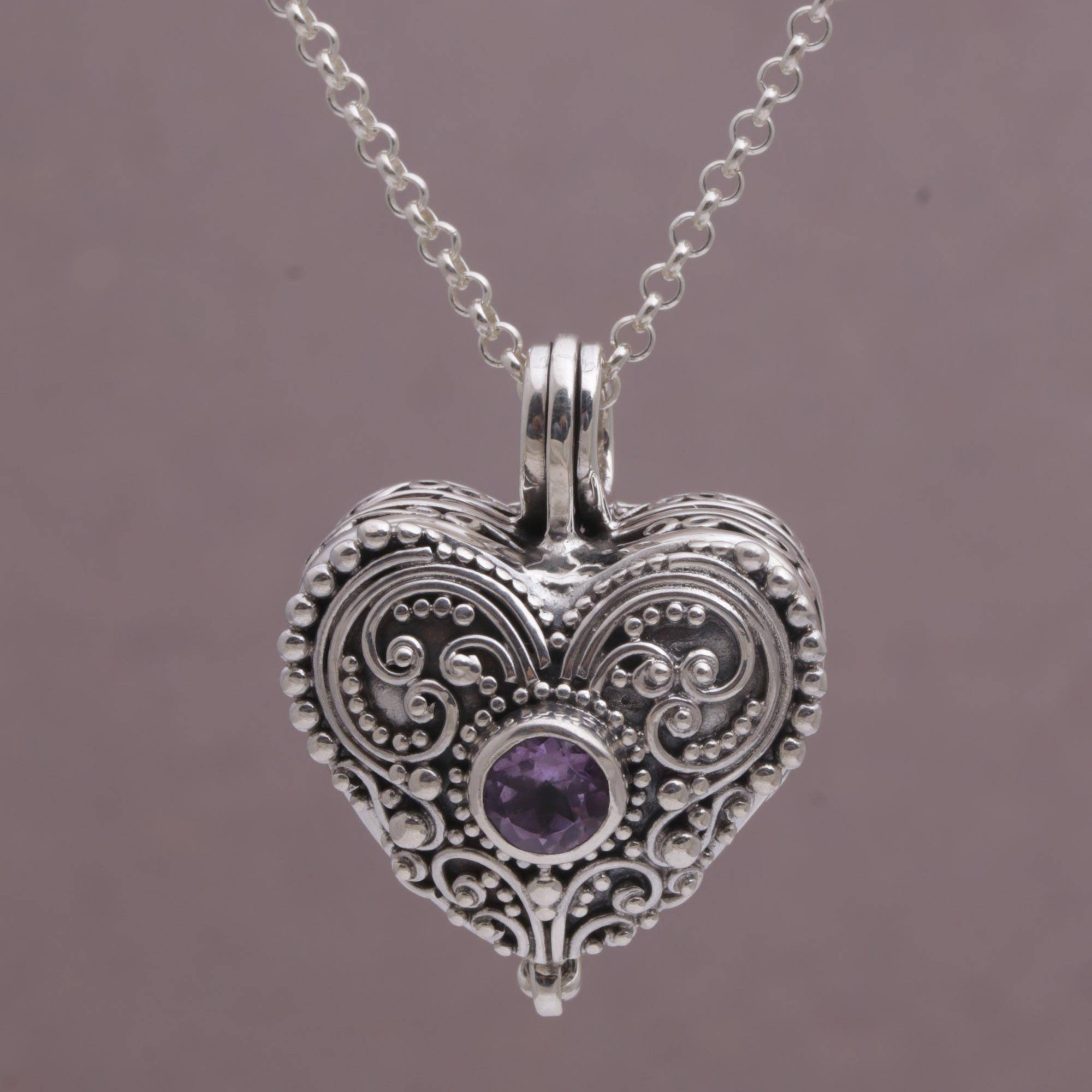 Heart Shaped Sterling Silver And Amethyst Locket Necklace, 'love Memento' Regarding Latest Purple February Birthstone Locket Element Necklaces (View 16 of 25)