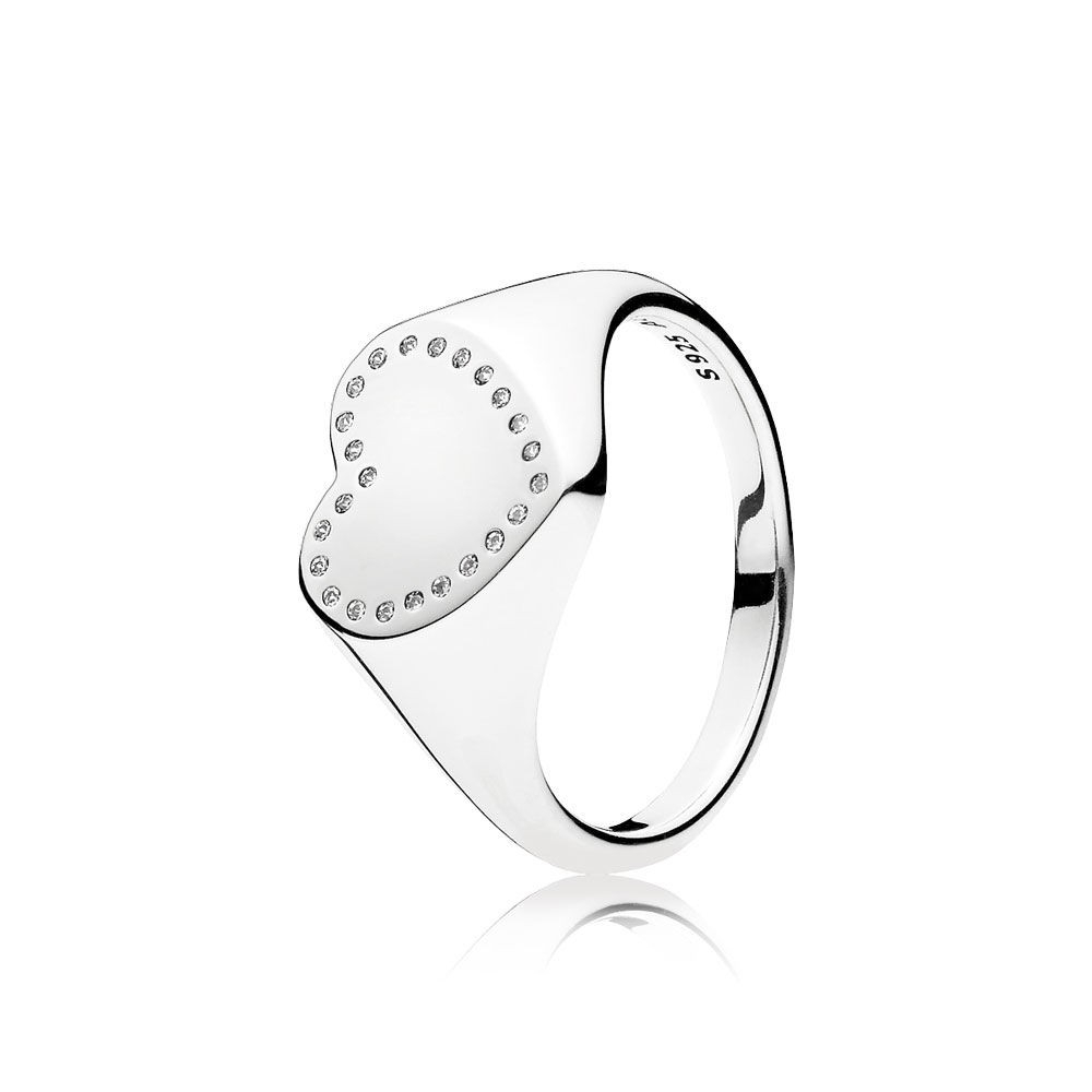 Heart Signet Pandora Ring Clear Cz The Heart Shaped Centerpiece With Regarding Most Up To Date Heart Shaped Pandora Logo Rings (Gallery 17 of 25)