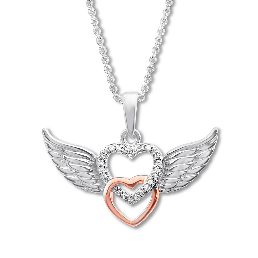 Heart Wings Necklace 1/20 Ct Tw Diamonds Sterling Silver Inside Most Recent Crown & Interwined Hearts Pendant Necklaces (Gallery 23 of 25)