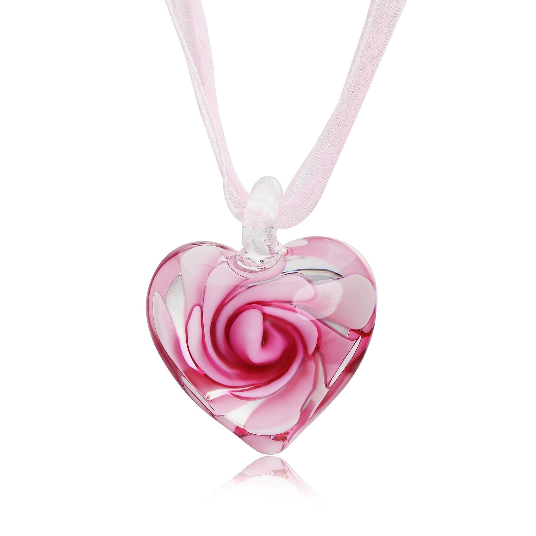 Heart With Rose Flowers Inside Lampwork Murano Italian Venetian Glass Fashion Earrings & Necklace Jewelry Sets Handmade Jewelry Intended For Most Recent Pink Murano Glass Leaf Pendant Necklaces (Gallery 25 of 25)