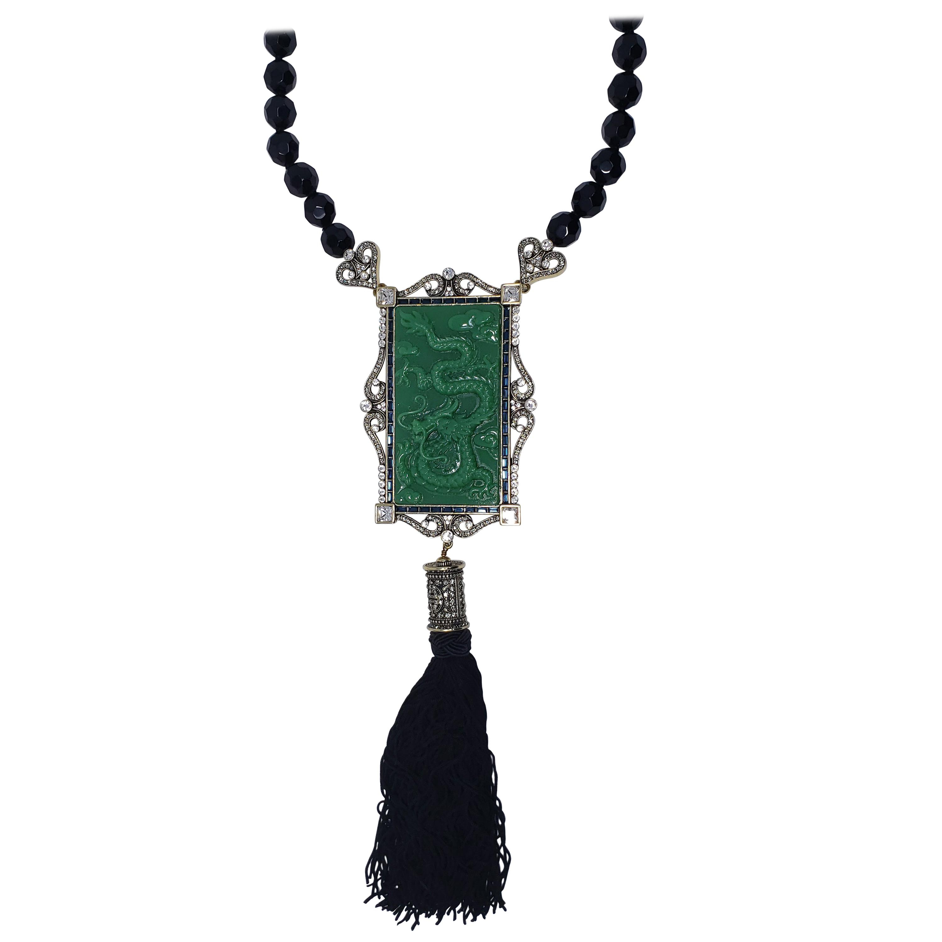 Heidi Daus Chinois Splendor Carved Jade Dragon Pendant Drop Tassel Necklace Within Latest Ornate Hearts Tassel Necklaces (Gallery 11 of 25)