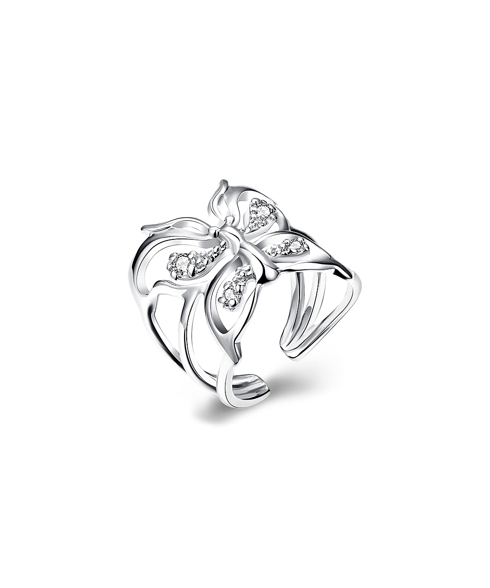 Her First Pair Silvertone Butterfly Openwork Bypass Ring With 2017 Openwork Butterfly Rings (Gallery 13 of 25)