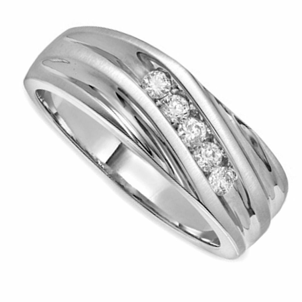 Hip Hop Men's 1/4 Ct D/vvs1 Round Diamond Slant Wedding Band For 2020 Diamond Slant Anniversary Bands In White Gold (Gallery 2 of 25)