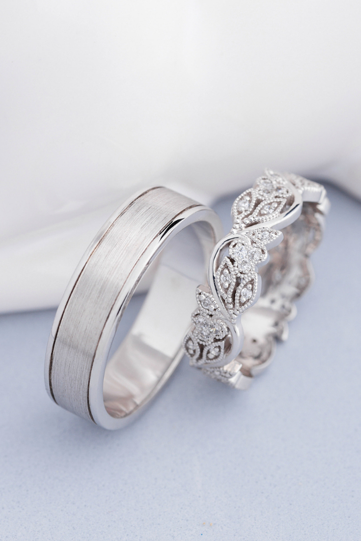 His And Hers Wedding Bands. Wedding Rings Set. Unique With Most Popular Diamond Milgrain Anniversary Bands In White Gold (Gallery 25 of 25)