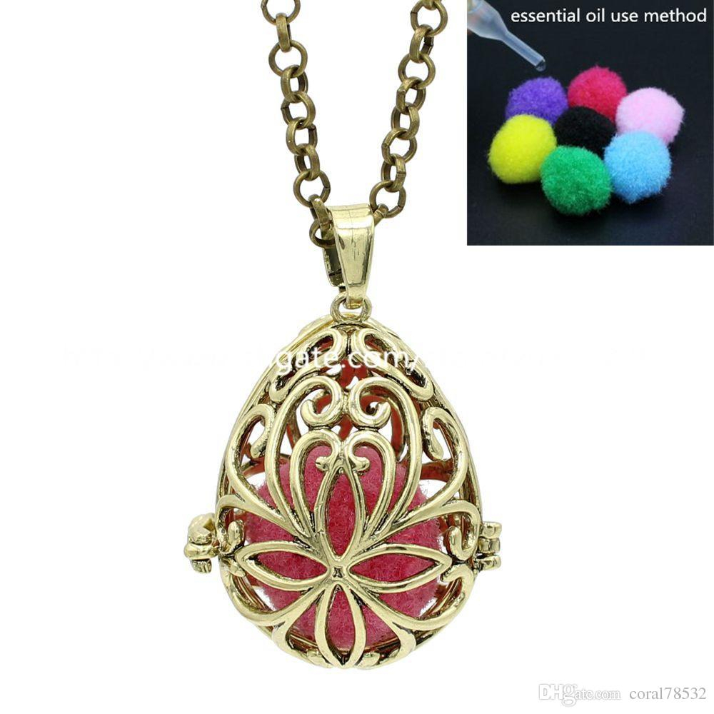 Hollow Waterdrop Teardrop Flower Locket Magic Box Pendant For Aromatherapy Perfume Fragrance Essential Oil Diffuser Necklace Inside 2020 Classic Flower Locket Element Necklaces (View 14 of 25)