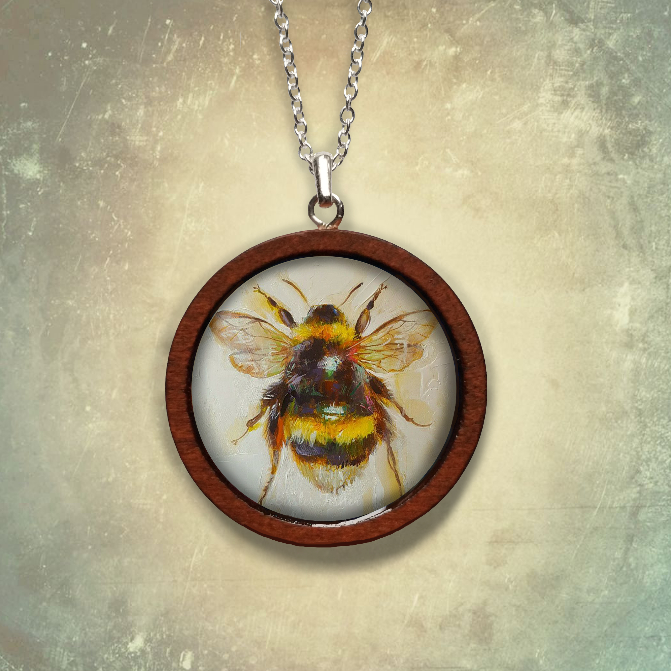 'honey Bee' Dark Wood Necklace Inside Most Current Bee Locket Element Necklaces (View 1 of 25)