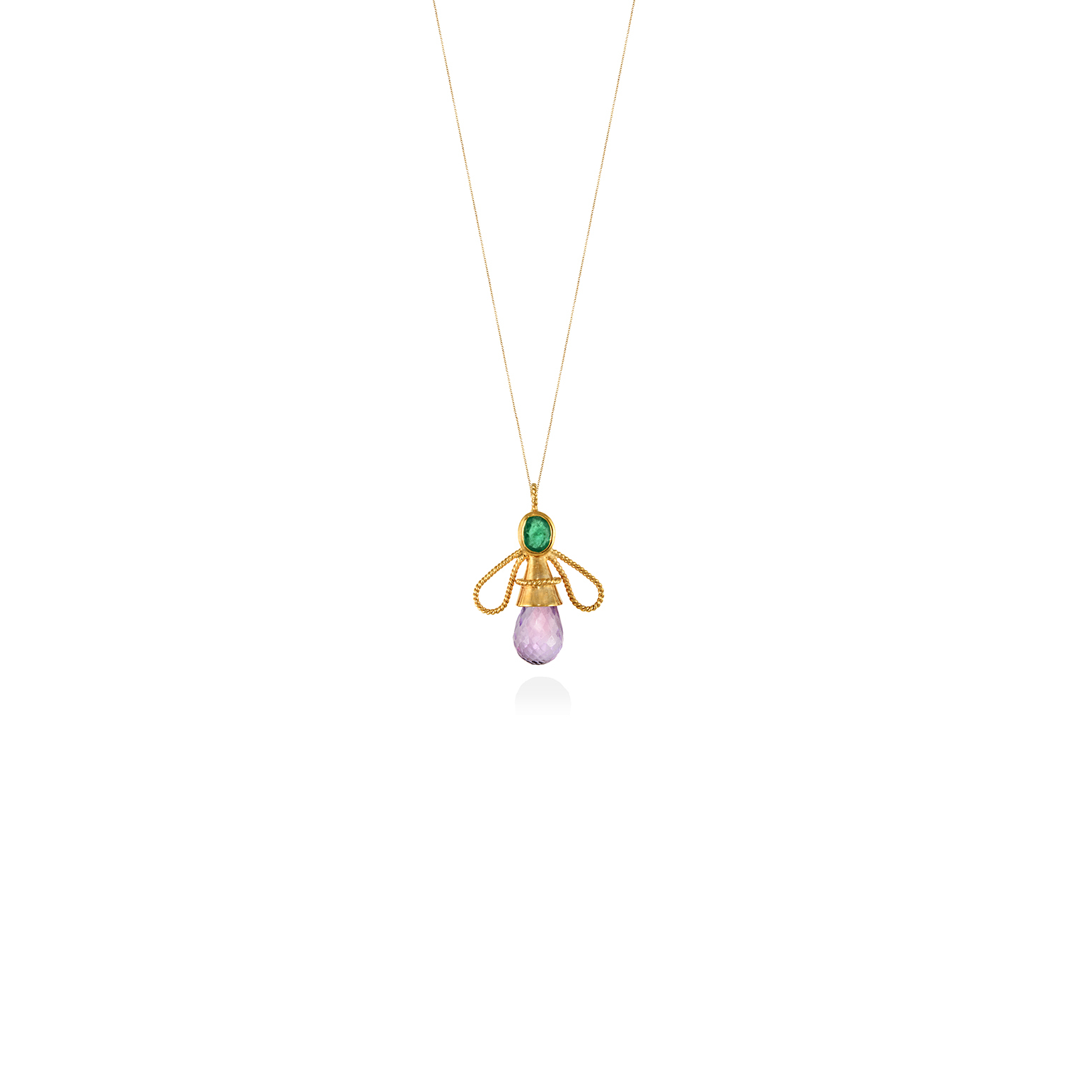 Honey Bee Pendant With Emerald And Amethyst With Regard To 2019 Bee Locket Element Necklaces (Gallery 10 of 25)