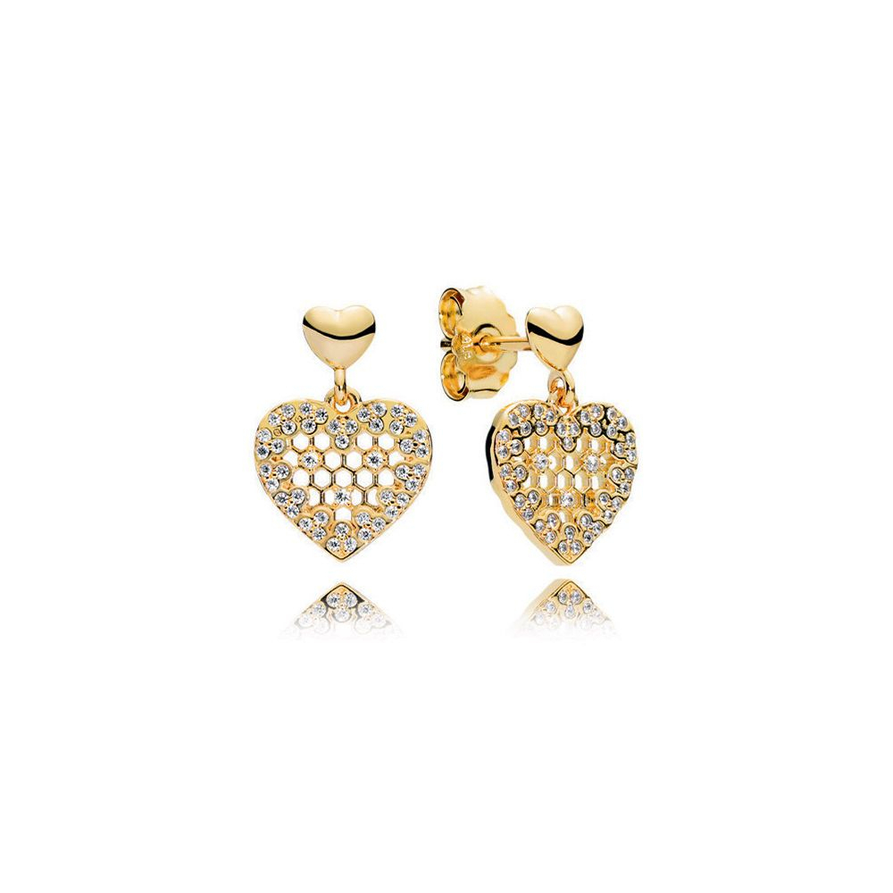 Honeycomb Lace Dangle Earrings, Pandora Shine™ & Clear Cz | Pandora With Regard To Most Recent Heart Honeycomb Lace Pendant Necklaces (View 7 of 25)