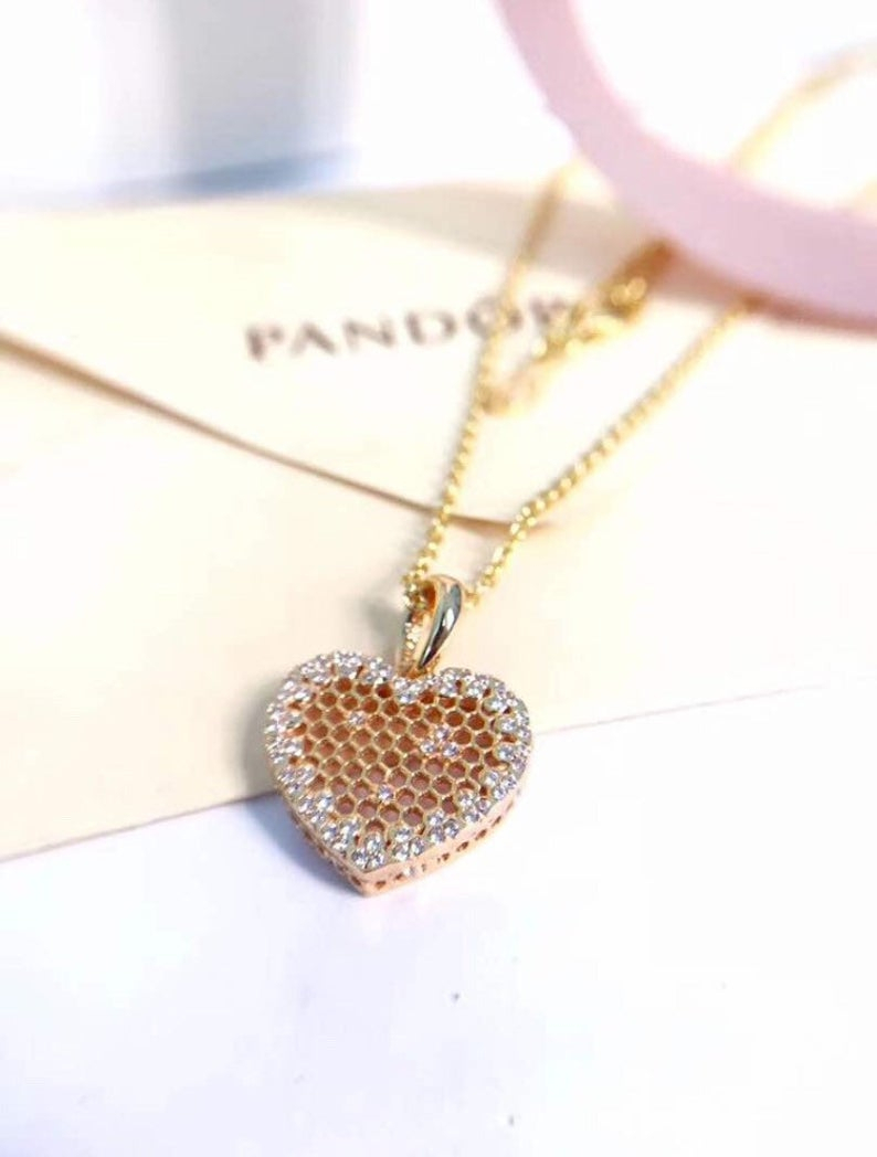 Honeycomb Lace Necklace With Pendant, 100% 925 Sterling Silver & Shine™ 18K  Gold Plated With Cubic Zirconia Fits To Pandora Jewelry, Diy Pertaining To Most Popular Heart Honeycomb Lace Pendant Necklaces (View 8 of 25)