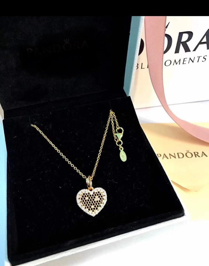 Featured Photo of Heart Honeycomb Lace Pendant Necklaces
