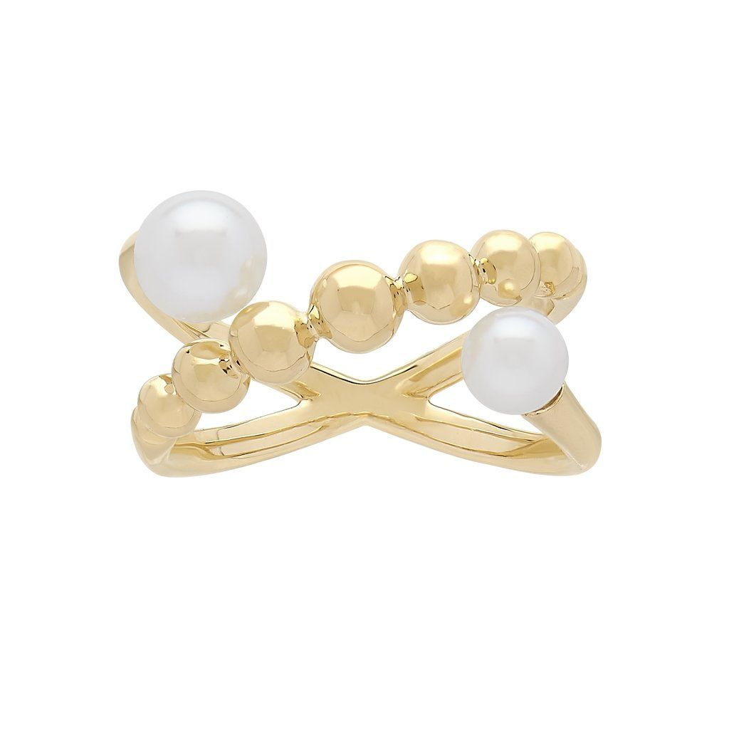 Honora Beaded Pearl Criss Cross Ring In 2019 | Ravishing Rings Intended For Most Recently Released Bead & Freshwater Cultured Pearl Open Rings (Gallery 24 of 25)