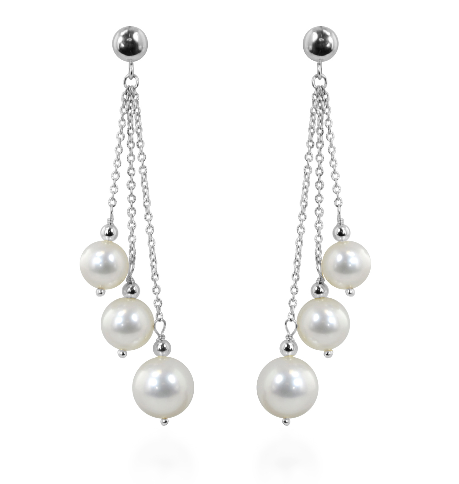 Honora White Gold Freshwater Pearl Dangle Earrings With Most Recent Dangling Freshwater Cultured Pearl Rings (View 17 of 25)