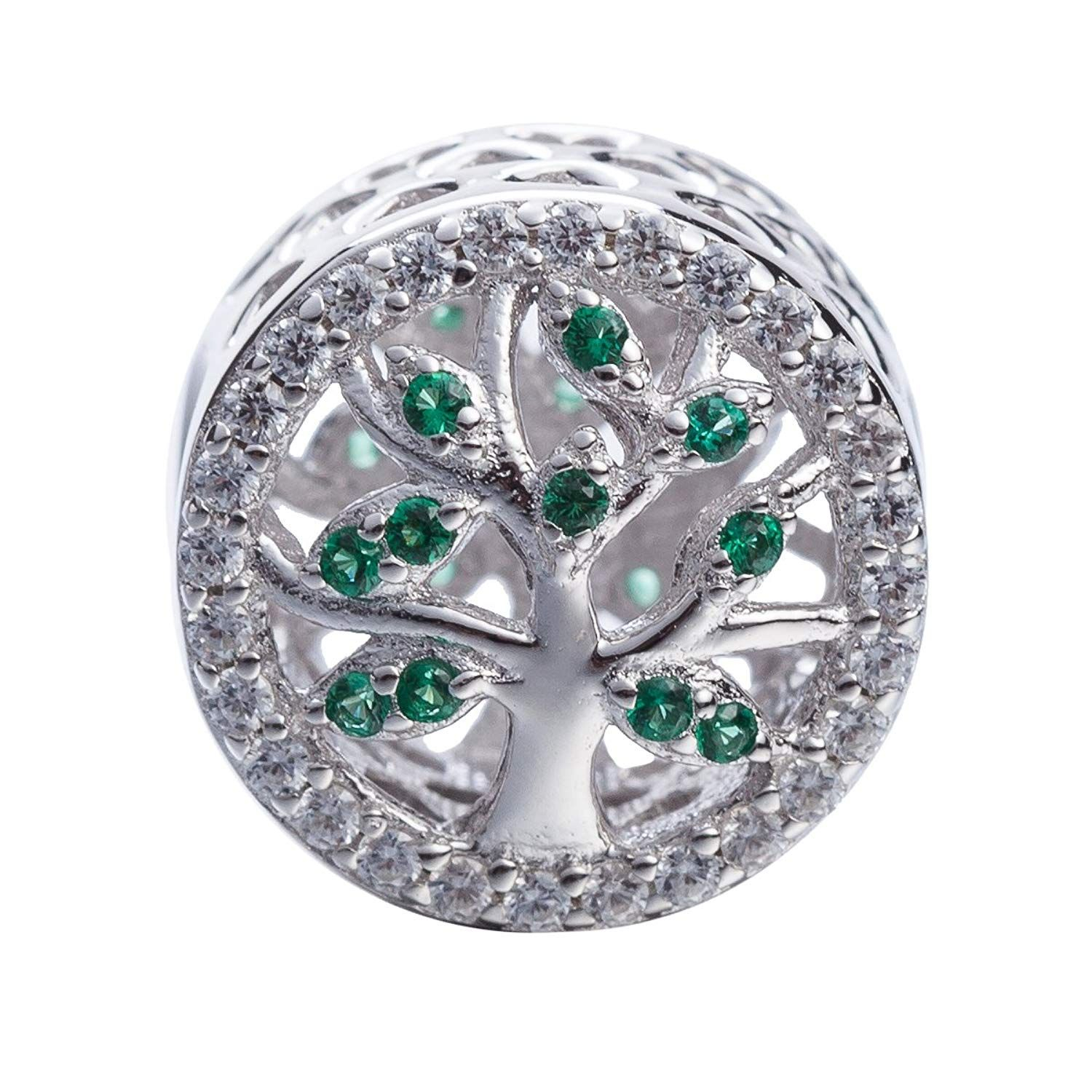 Hoobeads Family Tree Charms Bead Authentic 925 Sterling Silver Tree For Most Recently Released Dangling Family Tree Rings (Gallery 4 of 25)