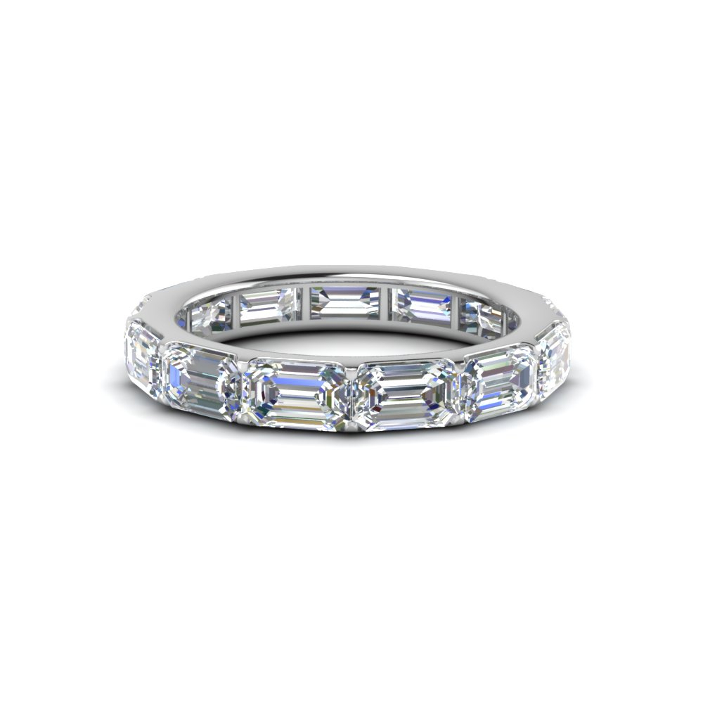 Horizontal Emerald Cut Diamond Eternity Band In 14K Rose In Current Composite Diamond Five Stone Anniversary Bands In White Gold (View 16 of 25)