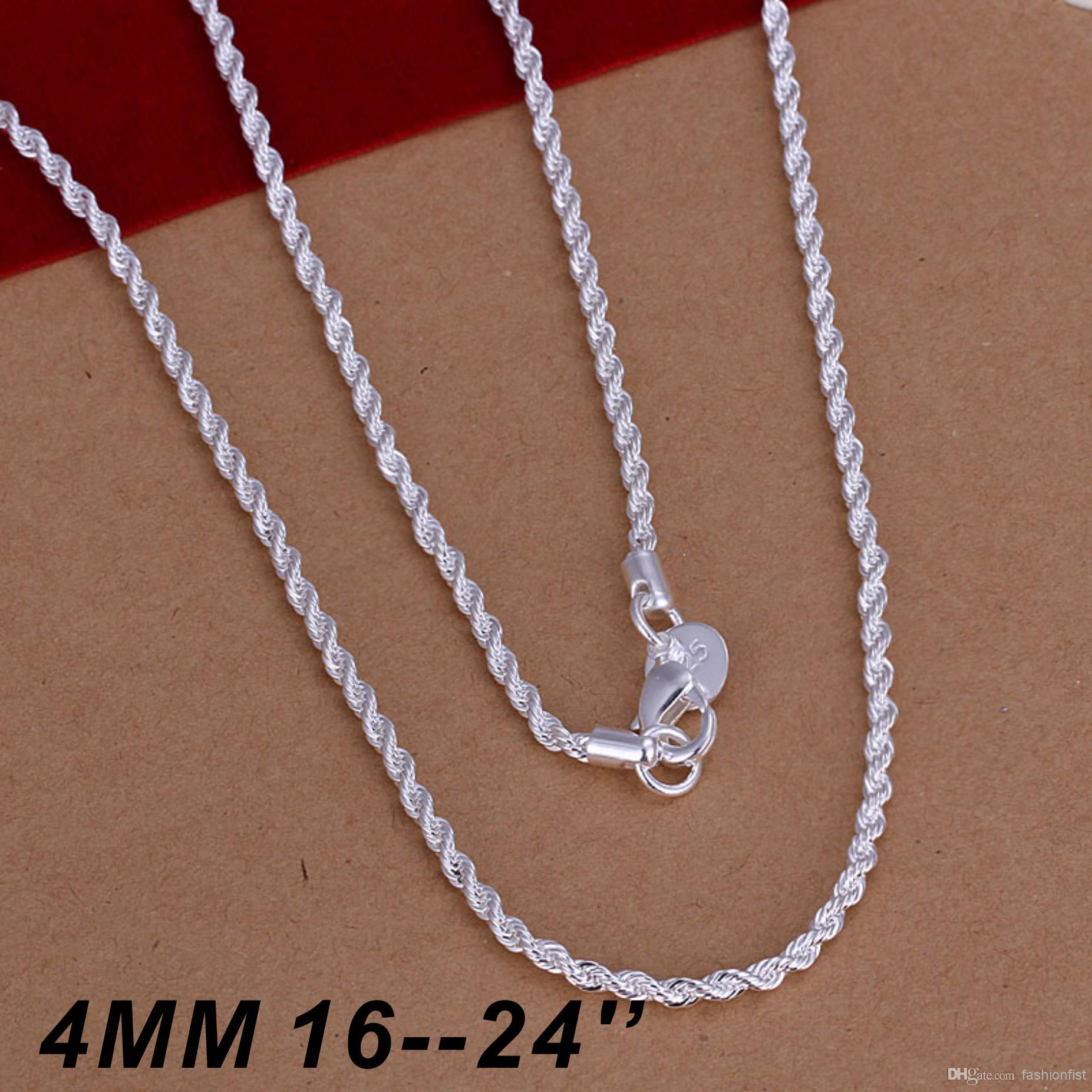Hot Selling 925 Sterling Silver Necklaces Jewelry Twist Rope Chain Necklace  4Mm 16Inch/18Inch/20Inch/22Inch/24Inch Free Shipping Inside Best And Newest Silver Chain Necklaces (View 14 of 25)