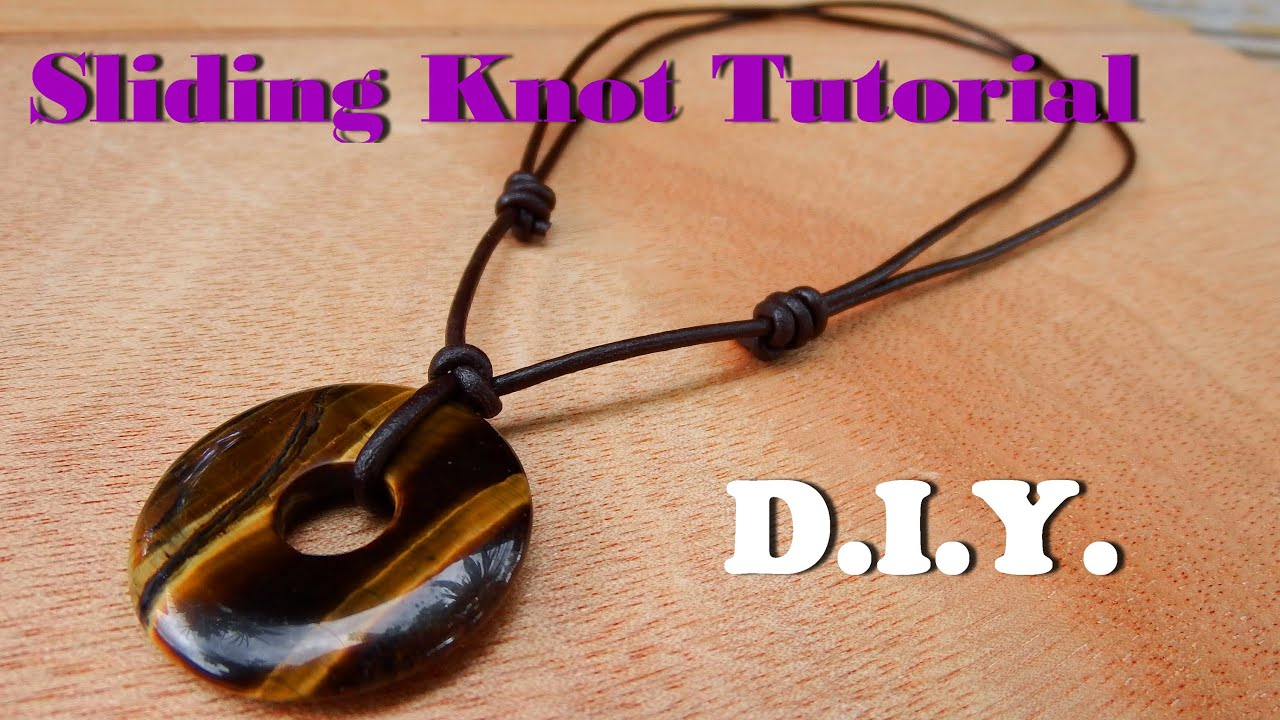 How To Make A Sliding Knot Necklace Leather Cord With Donut Tiger Eye Stone  Handmade For 2019 Woven Fabric Choker Slider Necklaces (Gallery 18 of 25)
