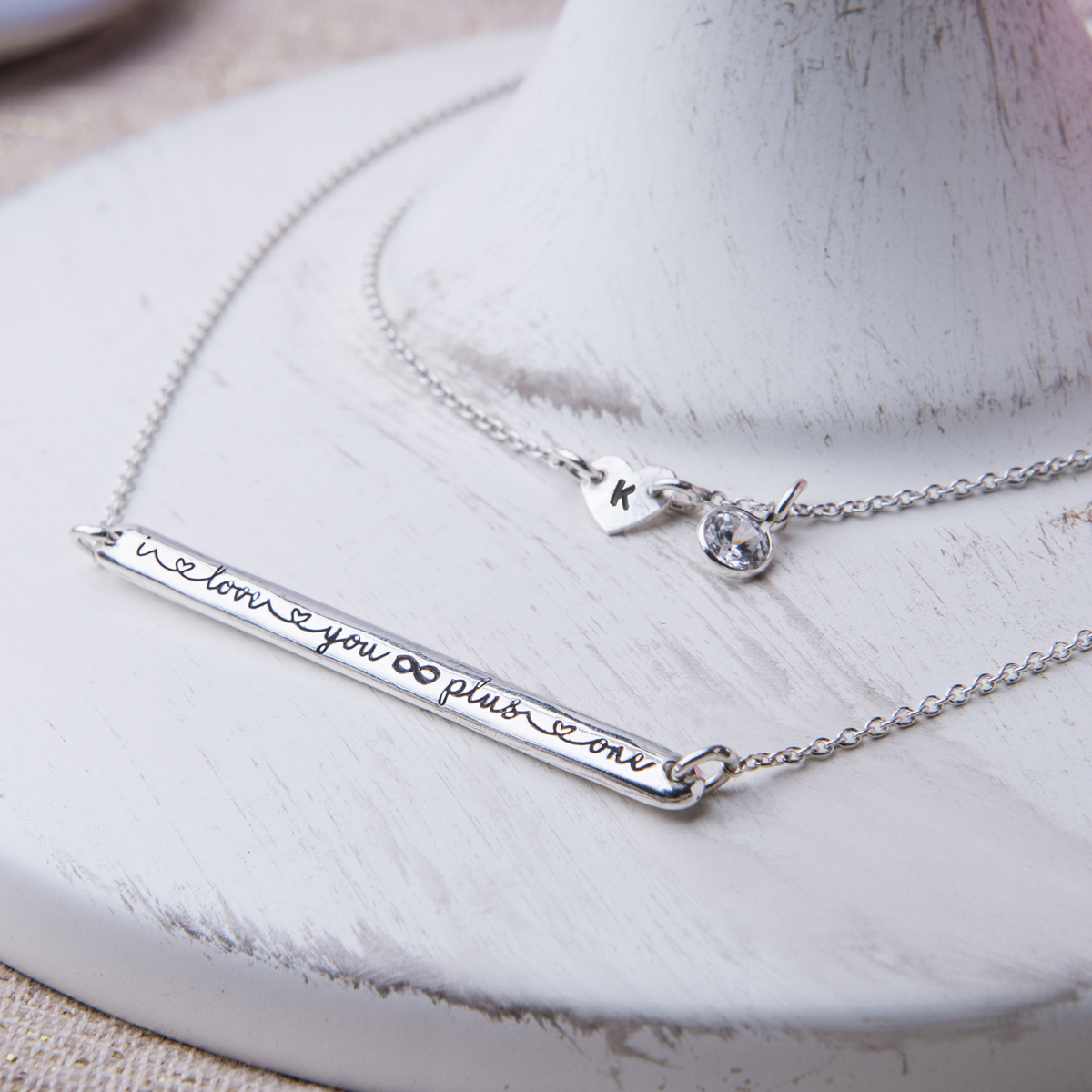 I Love You Infinity Plus One Necklace With Current Ampersand Alphabet Locket Element Necklaces (Gallery 21 of 25)
