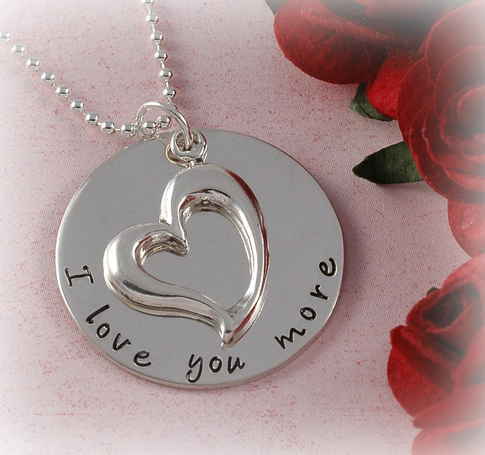 I Love You More Necklace With Open Heart Charm – Engagement – Wedding – Anniversary – Hand Stamped Jewelry – Personalized Necklace Pertaining To Most Up To Date Heart & Love You More Round Pendant Necklaces (View 7 of 25)