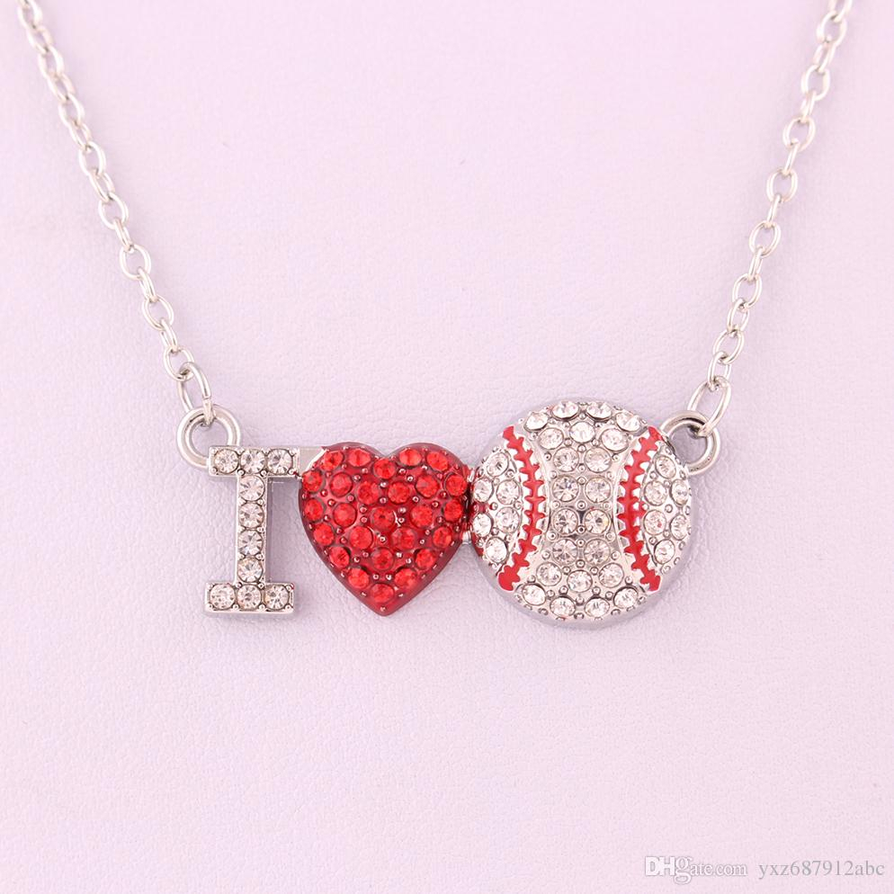 I Love You Silver Plated Crystal Red Heart Baseball Pendant Link Chain Necklace Best Anniversary Jewelry With Most Recent Heart & Love You More Round Pendant Necklaces (View 18 of 25)