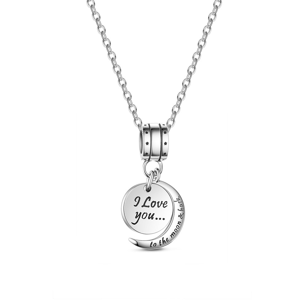 I Love You To The Moon And Back Necklace–tinysand Throughout Most Recent Pandora Logo Circle Necklaces (View 18 of 25)