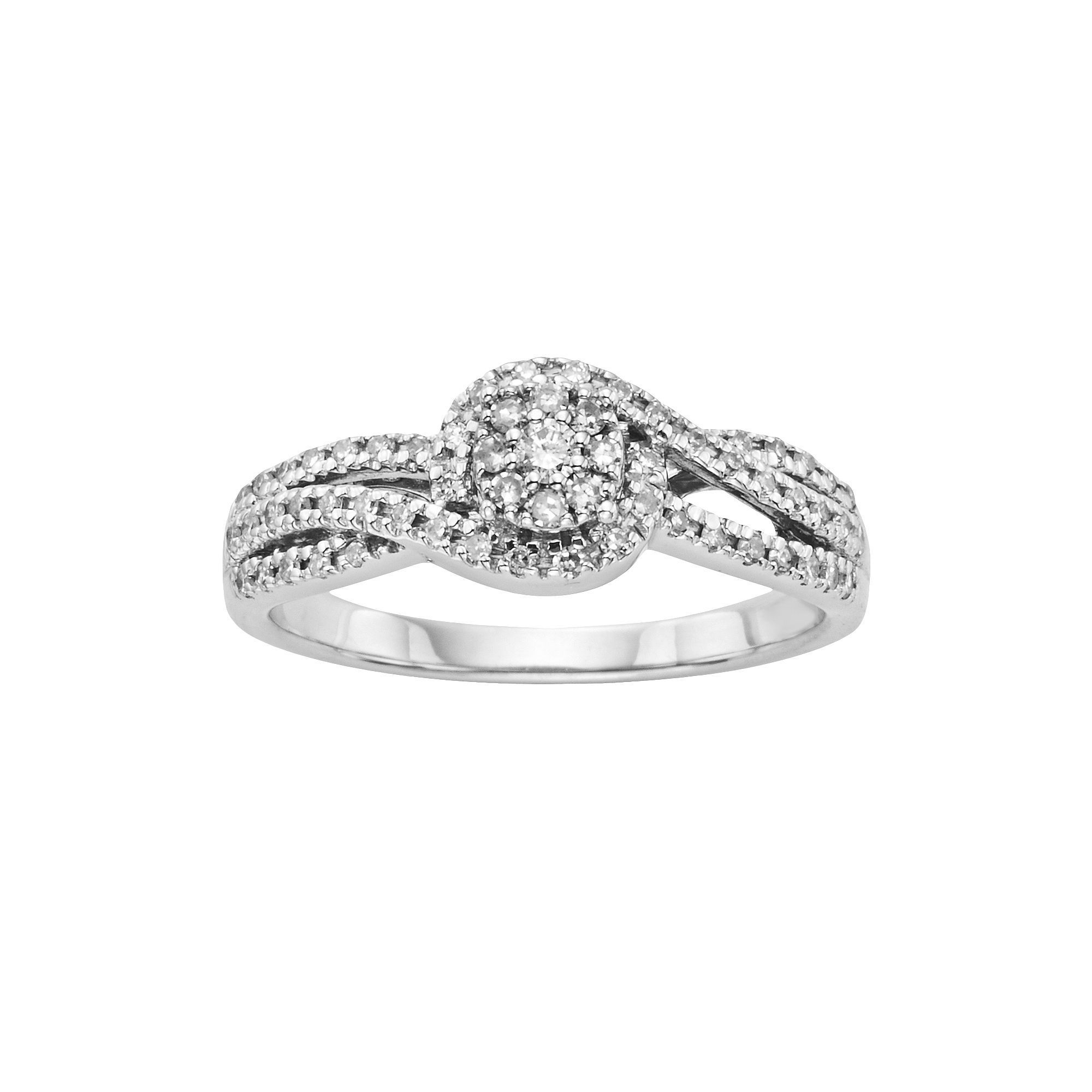 I Promise You Diamond Bypass Engagement Ring In Sterling Pertaining To Current Diamond Seven Stone Bypass Anniversary Bands In Sterling Silver (Gallery 5 of 25)