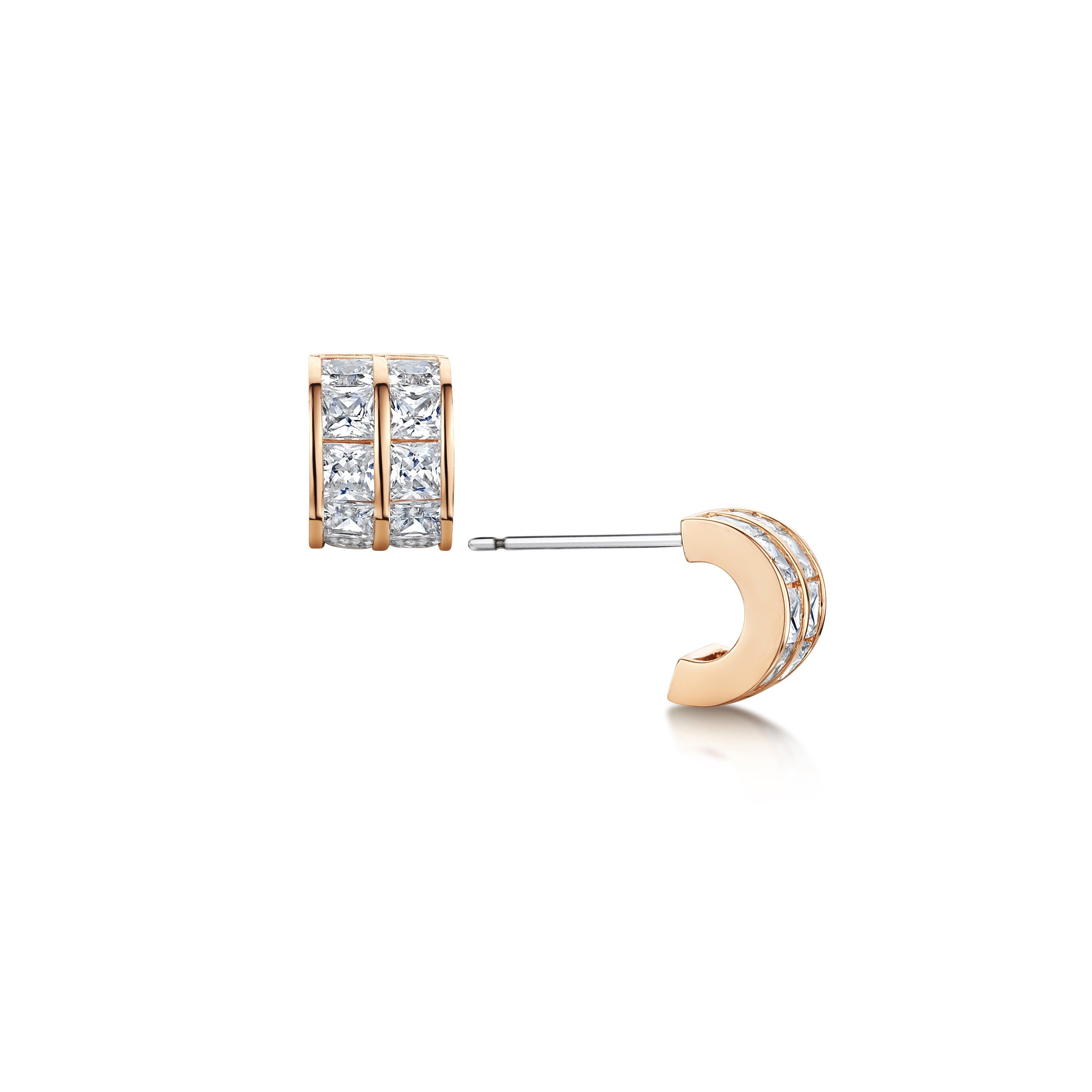 Ice Cube Hoop Earrings – Rose Gold Regarding Newest Sparkling Ice Cube Rings (View 13 of 25)