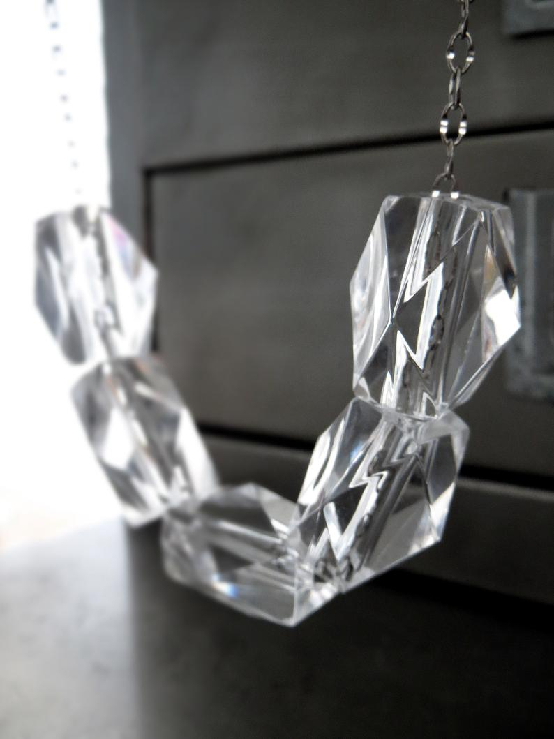 Ice Cube – Long Clear Chunky Cube Necklace, Crystal Clear Acrylic Bead Necklace, Long Chain Necklace, Minimalist Modern Geometric Jewelry Intended For Newest Sparkling Ice Cube Circle Pendant Necklaces (View 6 of 25)