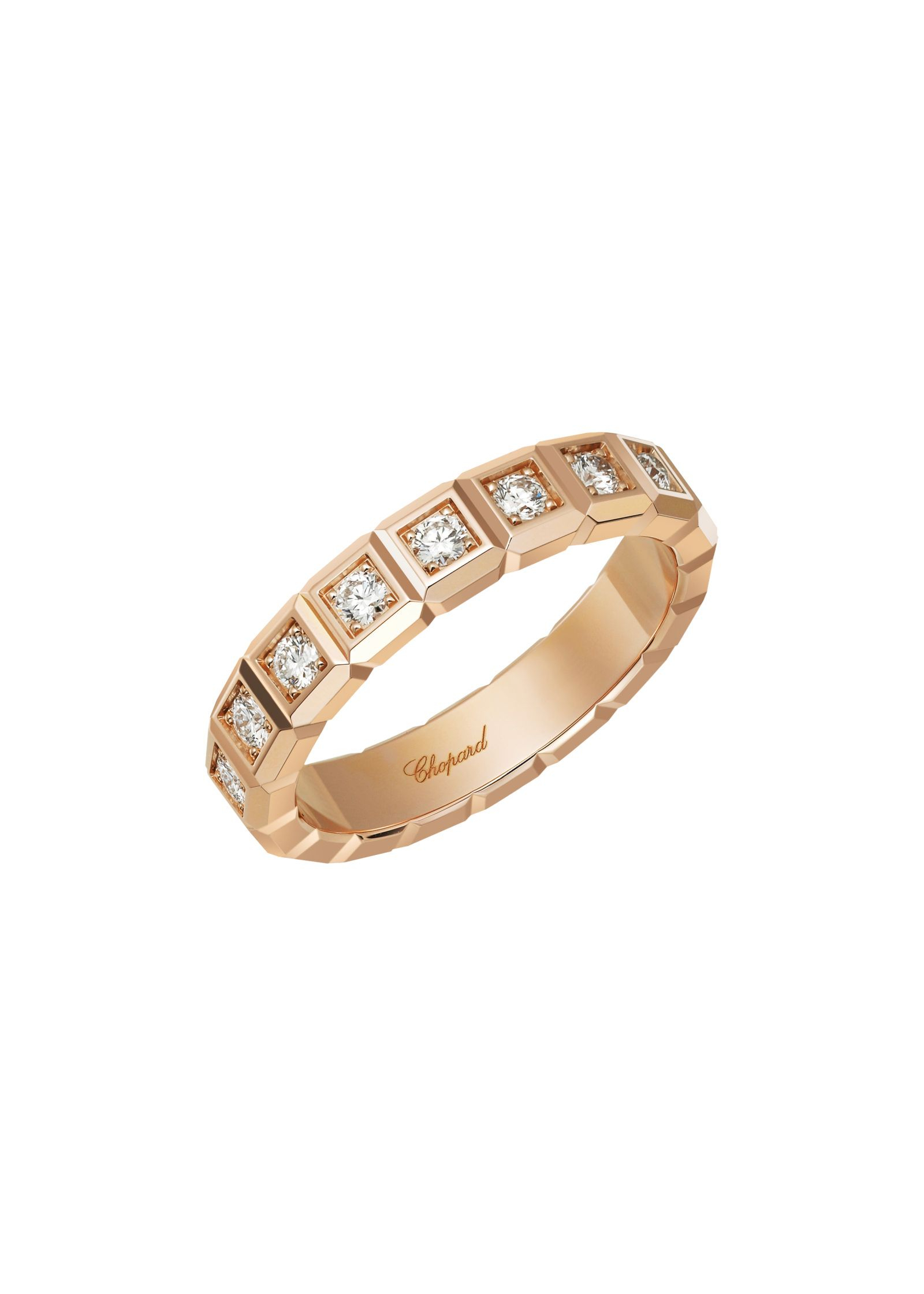 Ice Cube Ring 18K Rose Gold And Diamonds @829834 5099 – Chopard For Most Current Sparkling Ice Cube Rings (View 15 of 25)