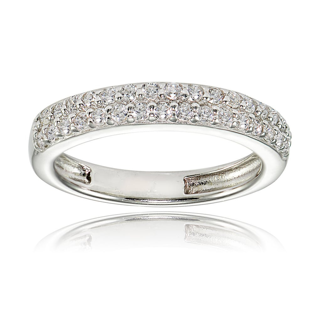 Icz Stonez Sterling Silver Cubic Zirconia 2 Row Round Cut Pertaining To Latest Diamond Two Row Anniversary Bands In Sterling Silver (Gallery 18 of 25)