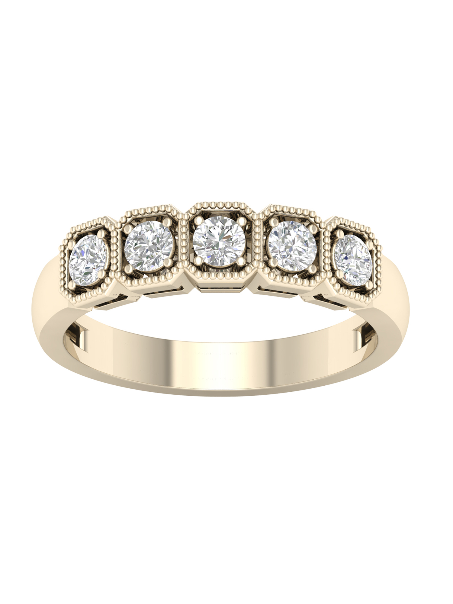 Igi Certified Imperial 1/2Ct Tdw Diamond 14K Rose Gold Five Stone  Anniversary Band (H I, I2) With Current Certified Diamond Anniversary Bands In Rose Gold (Gallery 22 of 25)
