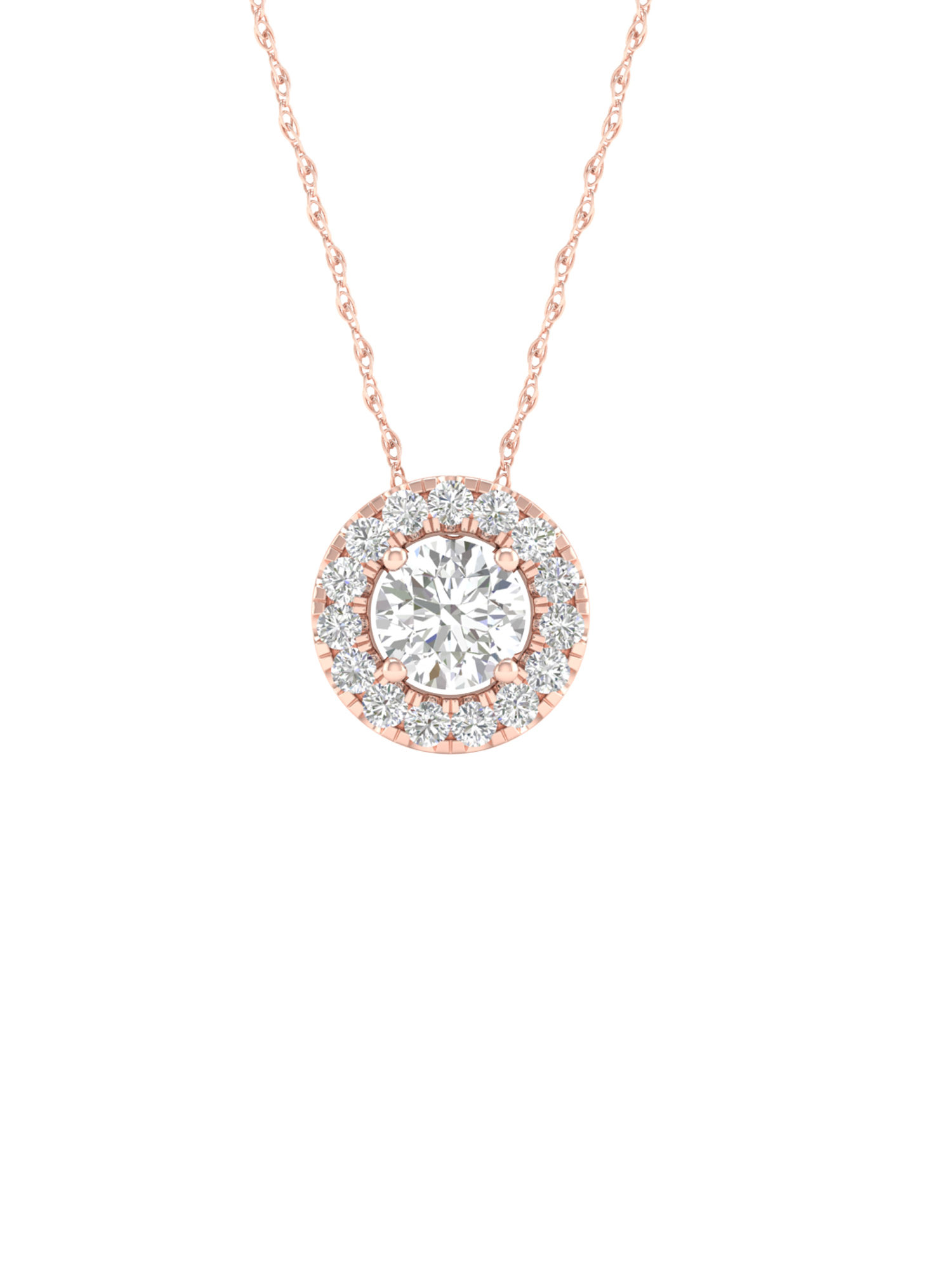 Igi Certified Imperial 1/6Ct Tdw Diamond 10K Rose Gold Round Diamond Halo Pendant Necklace (H I, I2) Intended For Latest Round Sparkle Halo Pendant Necklaces (View 20 of 25)