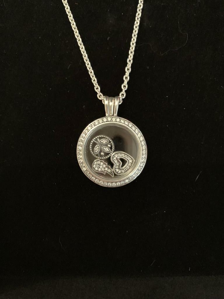Immaculate Pandora Sparkling Floating Locket Necklace With 3 Charms – As New | In Chandlers Ford, Hampshire | Gumtree With Newest Sparkling Family Tree Necklaces (View 15 of 25)