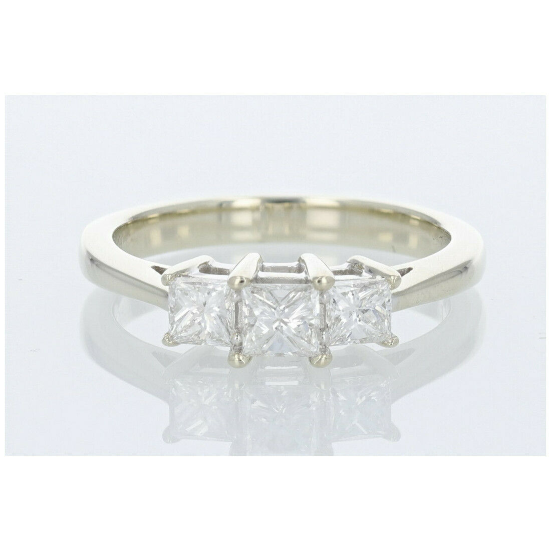 In Ring Engagement Stone Three Diamond Cut Princess 14k Gold Throughout 2020 Diamond Three Row Collar Anniversary Bands In White Gold (View 16 of 25)
