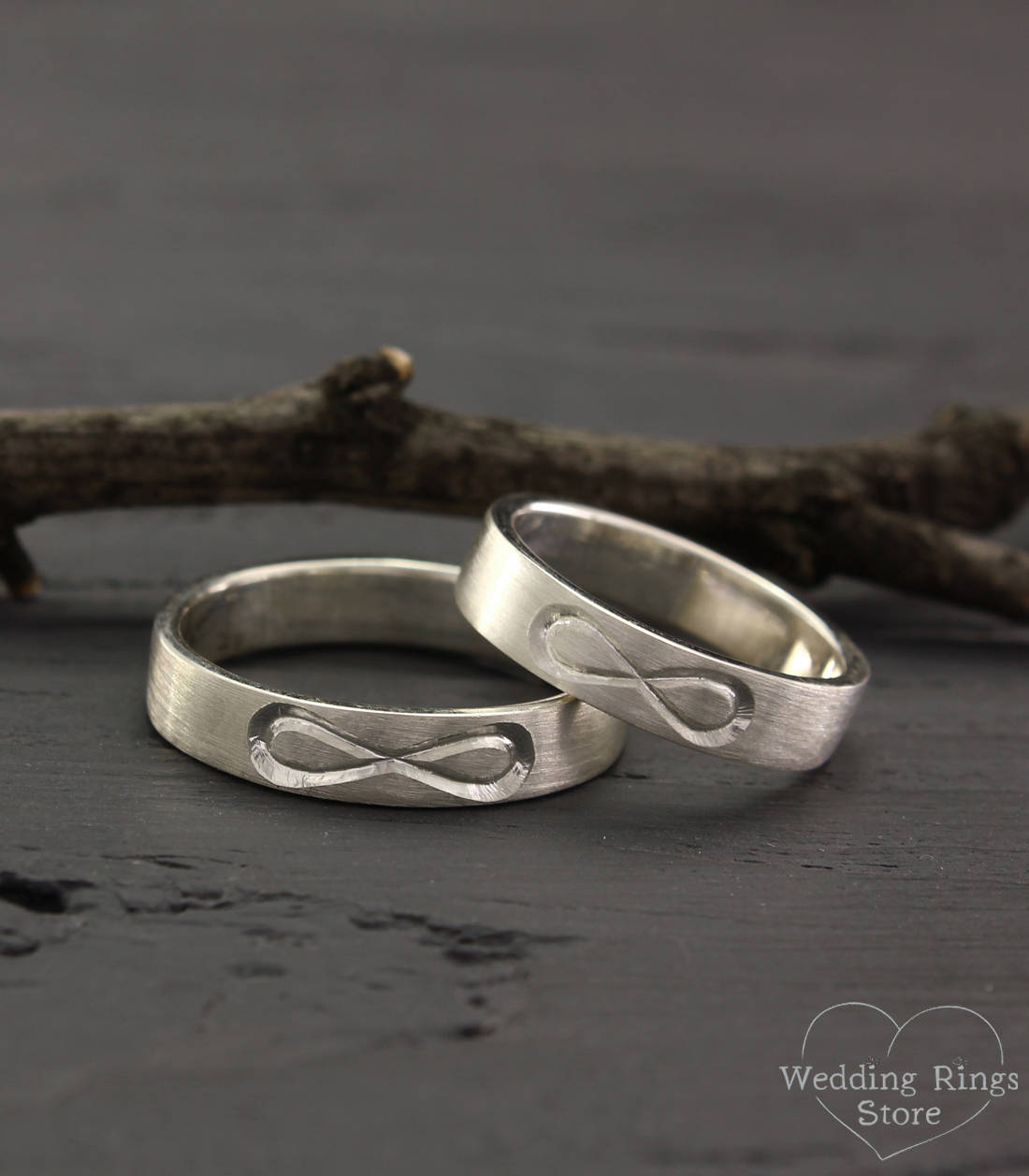 Infinity Bands Set In Silver, His And Her Infinity Band, Simple Wedding  Rings, Matte Finish Rings, Silver Infinity Bands, Wedding Rings Set Inside Best And Newest Simple Infinity Band Rings (Gallery 23 of 25)