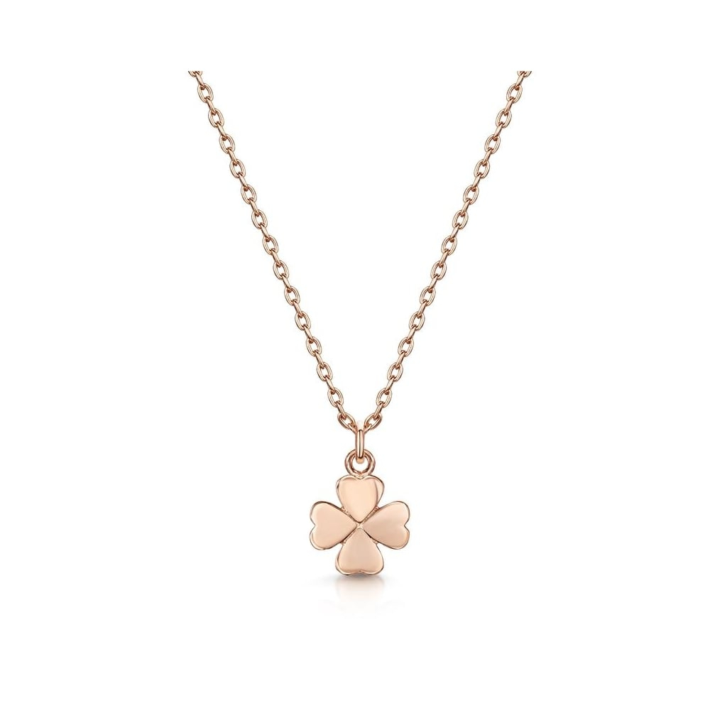 Infinity & Co Love X Infinity Rose Gold Four Leaf Clover Pendant With Recent Lucky Four Leaf Clover Pendant Necklaces (View 12 of 25)