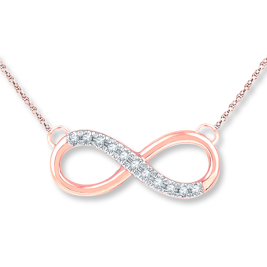 Infinity Diamond Necklace 1/20 Ct Tw Round Cut 10K Rose Gold For Best And Newest Sparkling Infinity Locket Element Necklaces (Gallery 1 of 25)
